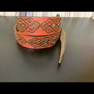 Lucky Brand Red Beaded Souk Belt Size M